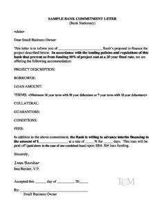 lender commitment letter sample